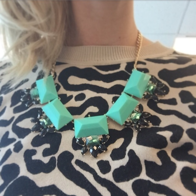 Turquoise statement necklace $10.00 (Forever 21). Animal-print sweater $25.00 (Forever 21)