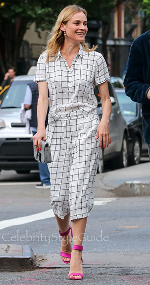 FOREVER-21-Grid-Print-Blouse-and-Gaucho-Set-Seen-on-Diane-Kruger